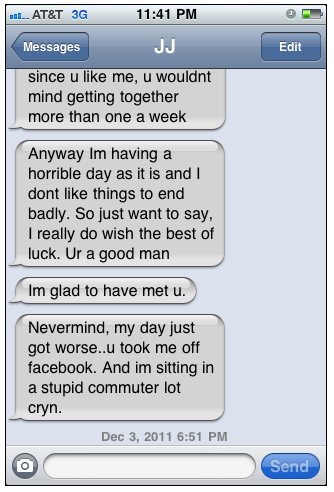 girl texting crazy one night stand