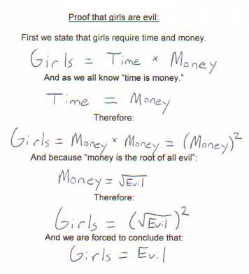 funny dating math girls are evil proof