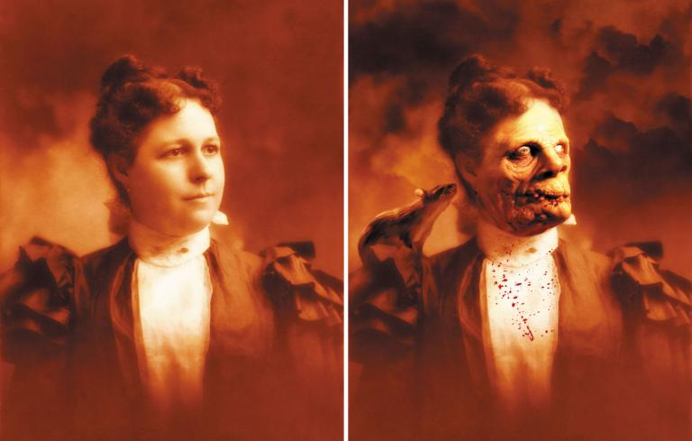 scary holographic image of woman and demon