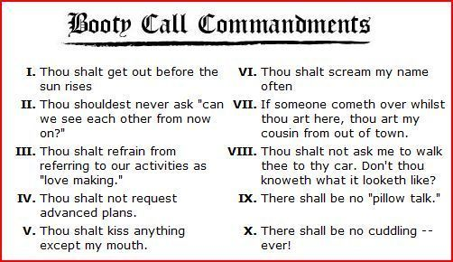bootycall commandments