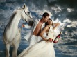 prince charming and white horse and princess